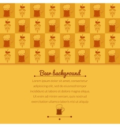 Beer mugs and hop background vector