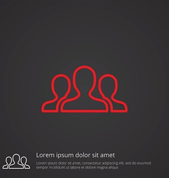 Team outline symbol red on dark background logo vector