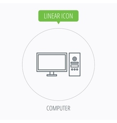 Computer pc icon widescreen display sign vector