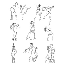 Hand drawn dance icons vector