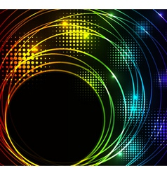 Abstract glowing background with digital symbols vector