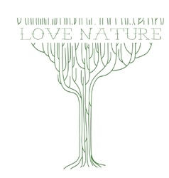 Green outline tree with text - love nature vector