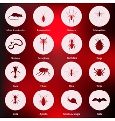 Pest and insect control icons set vector