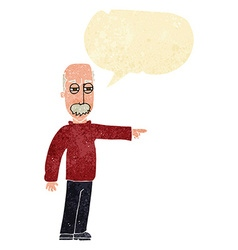 Cartoon old man gesturing get out with speech vector