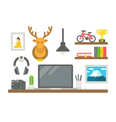 Flat design working desk decor vector