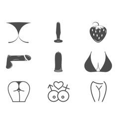 Collection of cute sex shop icons sexual symbols vector