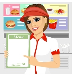 Female fast food restaurant employee vector