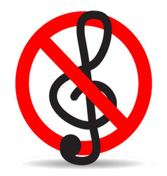 Ban music treble clef design icon flat vector