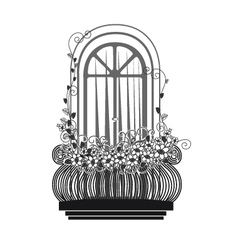 Balcony with flowers silhouette vector