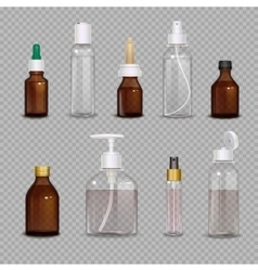 Realistic bottles on transparent background vector
