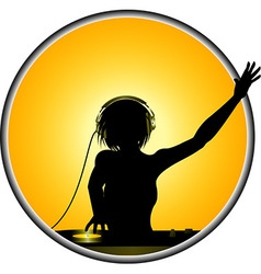 Female dj silhouette border vector