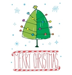 Post card with hand drawn christmas tree vector