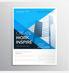 Annual report business brochure in blue color vector