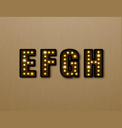 Bulb light font on wood pattern vector
