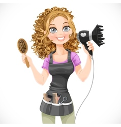 Cute girl hairdresser with hair dryer vector