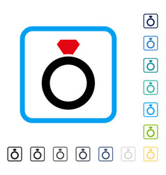 diamond ring framed icon vector image