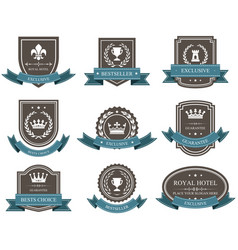 Emblems and badges with crowns and ribbons - award vector