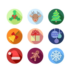 Flat Christmas Icons vector image vector image