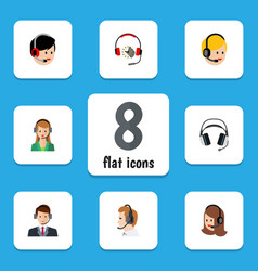 Flat telemarketing set of headphone service vector