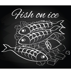Fresh fish and lemon on the ice vector
