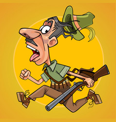 Funny cartoon hunter with gun runs away in fright vector