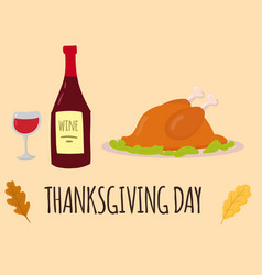 happy thanksgiving day turkey design holiday fresh vector image