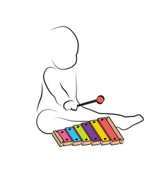 Kid playing xylophone child development and vector