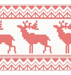 Knitted deer seamless pattern in red color vector