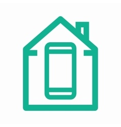 logo combination of a house and phone vector image vector image