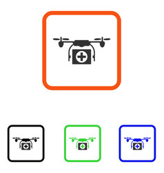 medical drone framed icon vector image