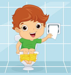 of a kid at toilet vector image vector image