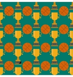 Orange basketball ball and gold cup seamless vector image vector image