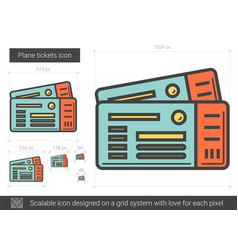 Plane tickets line icon vector