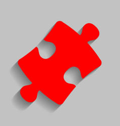 Puzzle piece sign red icon with soft vector