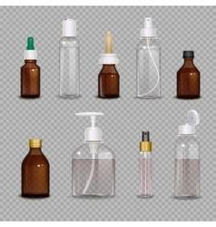 Realistic bottles on transparent background vector