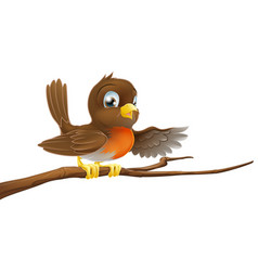 Robin bird on branch pointing vector