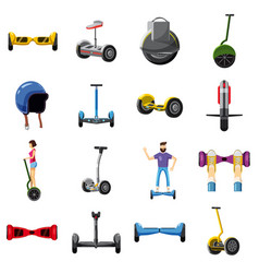 Scooter balance icons set cartoon style vector
