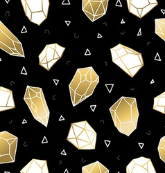 Seamless pattern with gold crystal rocks vector