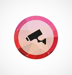 Security camera circle pink triangle background vector