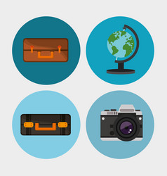 set equipment travel vacation vector image vector image