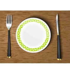 set of white dishes on a wooden vector image vector image