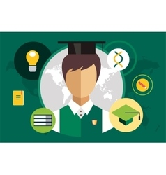 Student silhouette and education objects vector