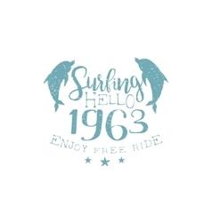 Summer holydays vintage emblem with dalophins vector