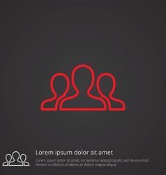 Team outline symbol red on dark background logo vector