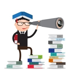 student is on the books and looks forward vector image
