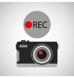 Retro camera photographic rec button vector
