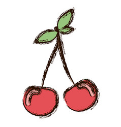Red vegetable cherrys icon vector