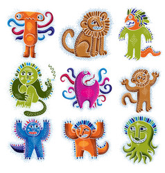 Comic characters set of funny alien monsters vector