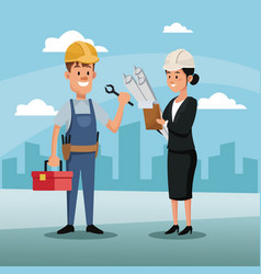 Character woman manager employee construction vector