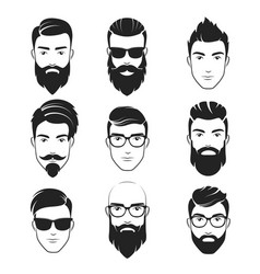 Set of bearded hipster men faces haircuts vector